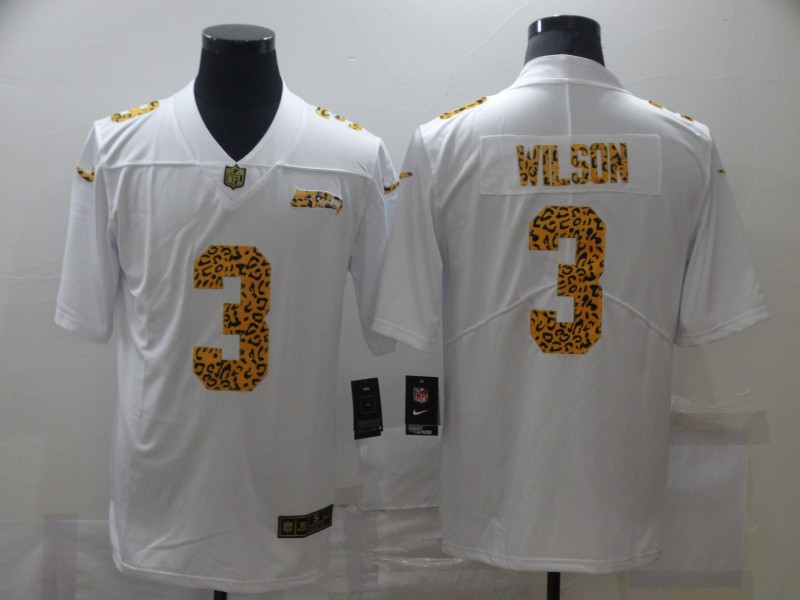 Nike Seahawks 3 Russell Wilson White Leopard Vapor Untouchable Limited Jersey