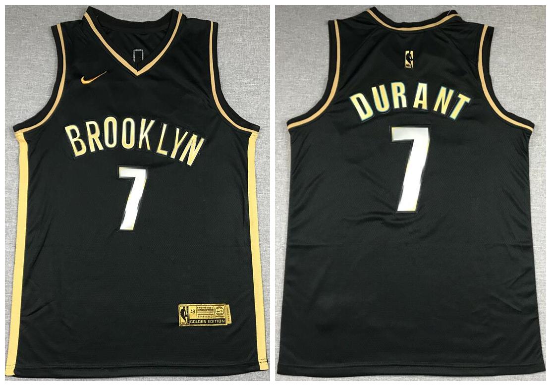 Nets 7 Kevin Durant Black Gold 2021 Nike Swingman Jersey