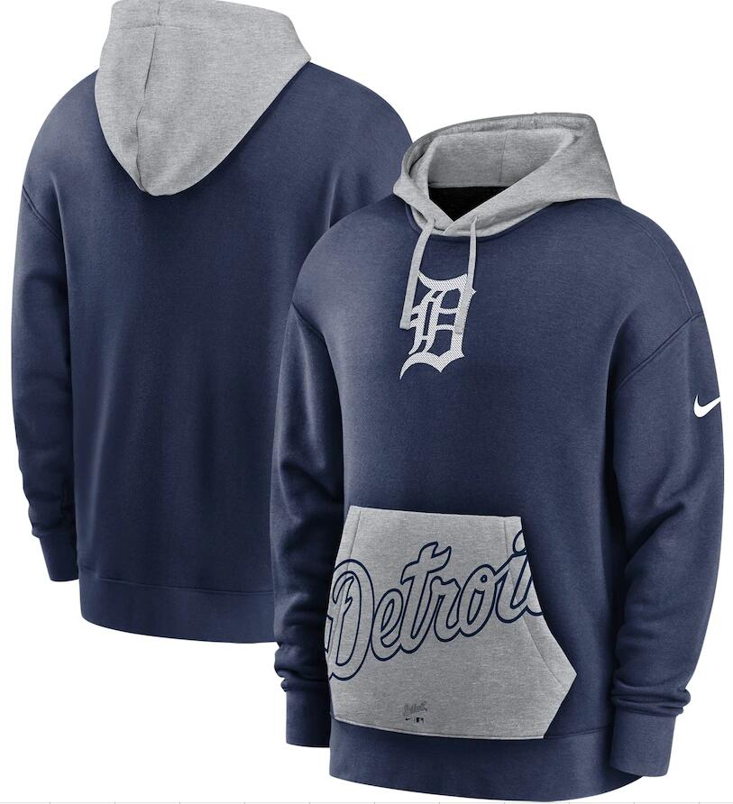 Men's Detroit Tigers Nike Navy Gray Heritage Tri Blend Pullover Hoodie