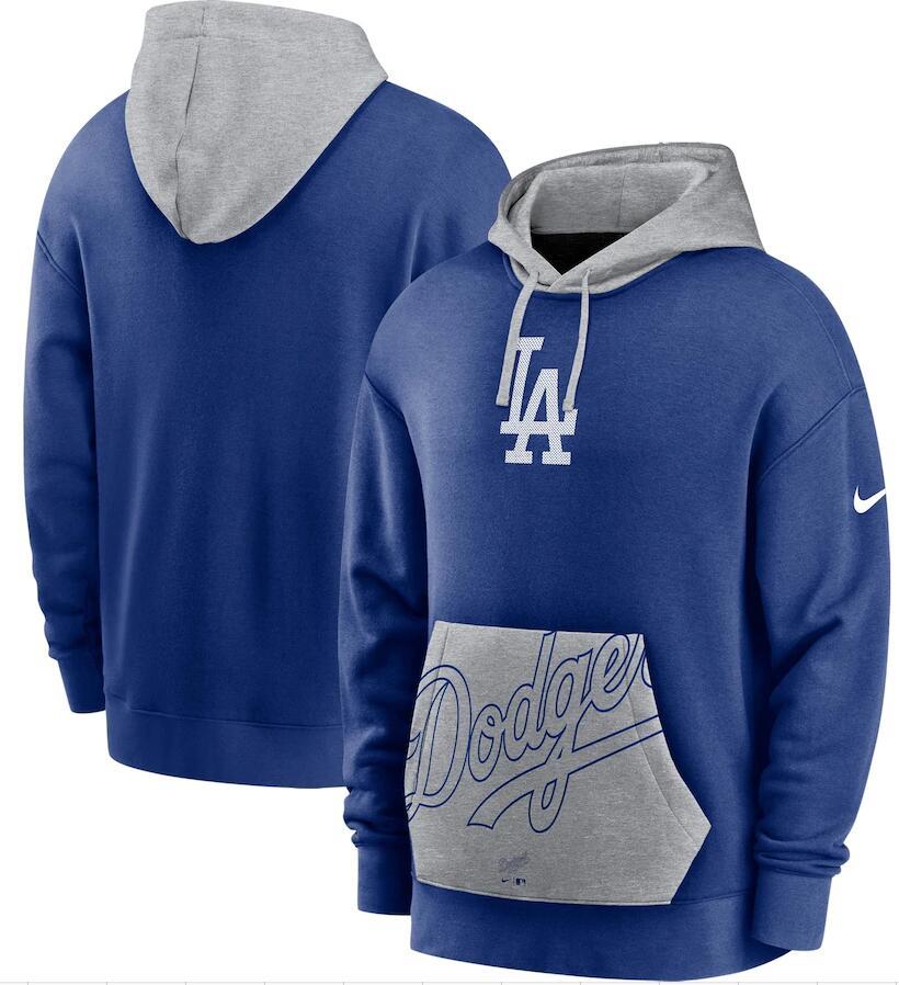Men's Los Angeles Dodgers Nike Royal Gray Heritage Tri Blend Pullover Hoodie