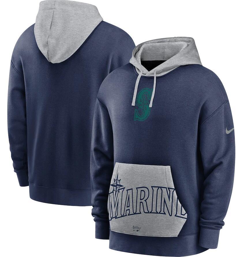 Men's Seattle Mariners Nike Navy Gray Heritage Tri Blend Pullover Hoodie