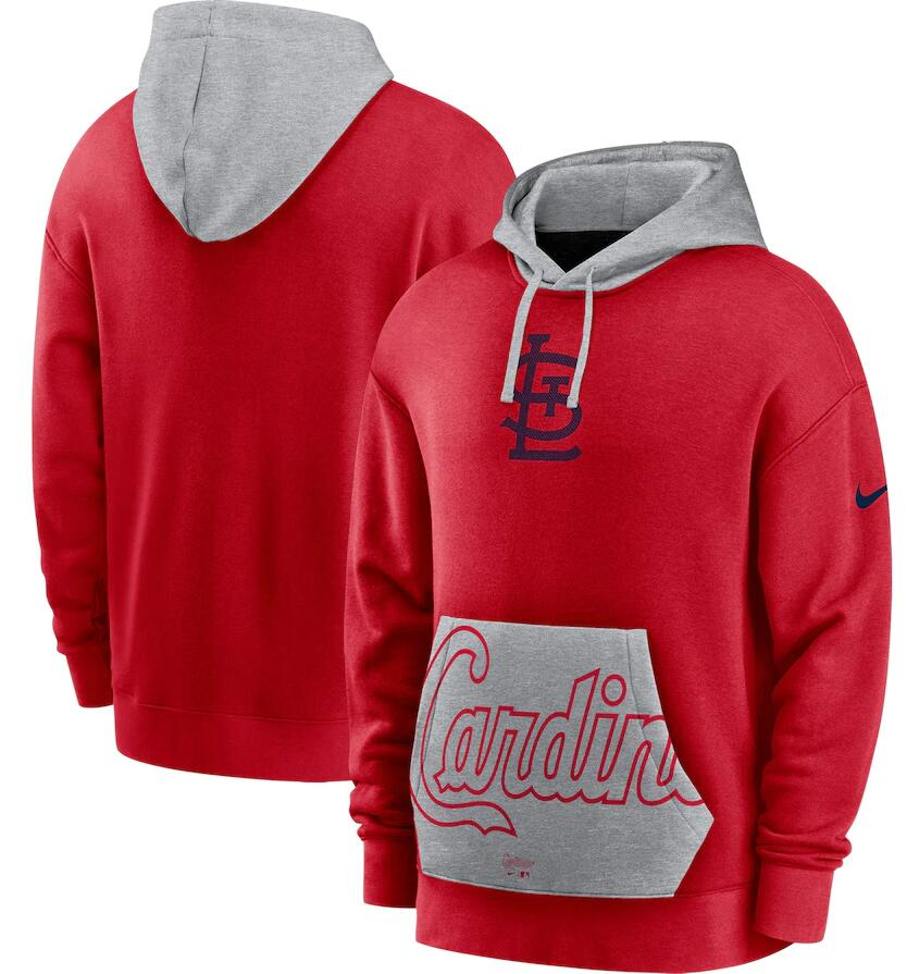 Men's St. Louis Cardinals Nike Red Gray Heritage Tri Blend Pullover Hoodie