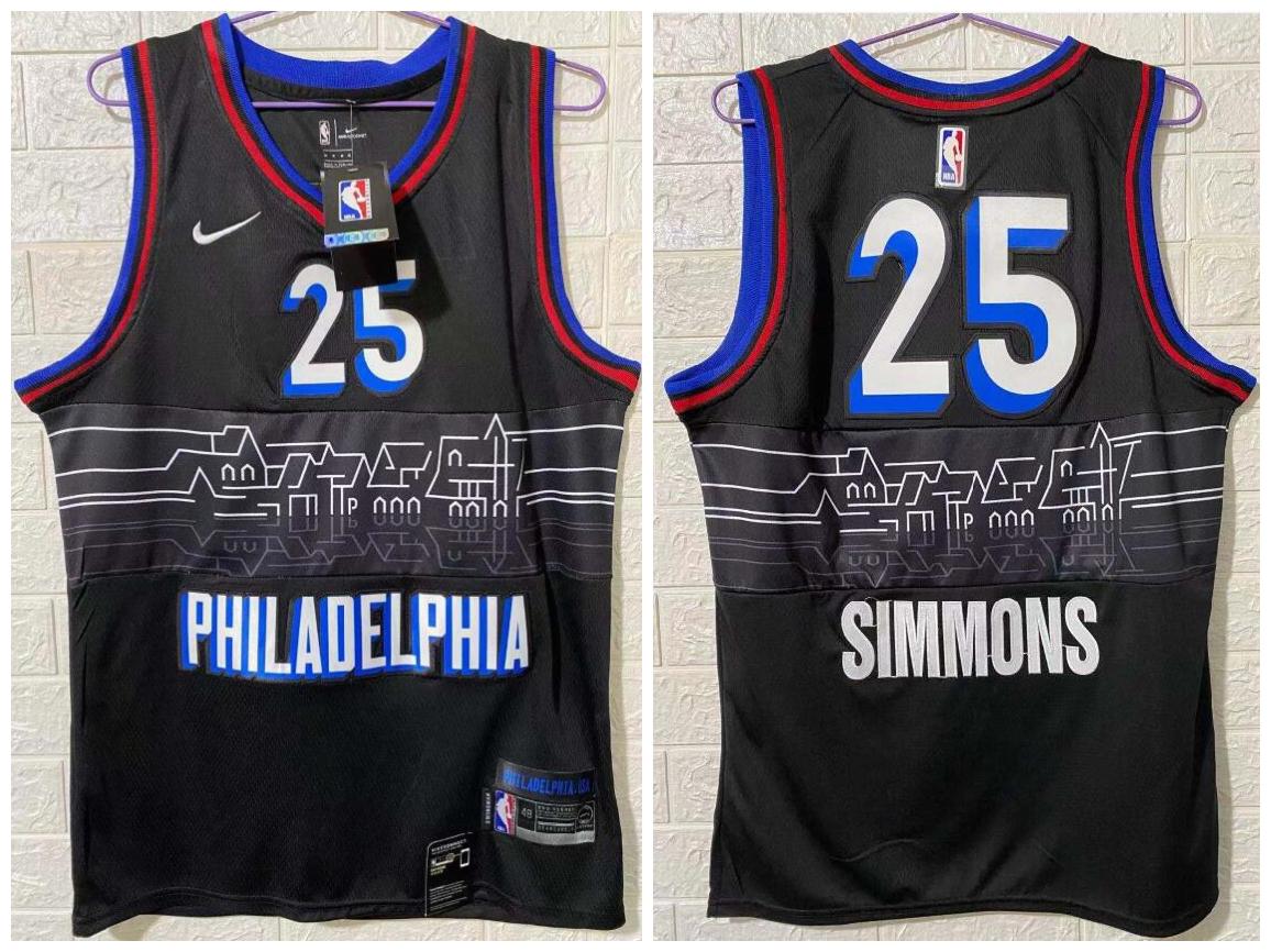 76ers 25 Ben Simmons Black 2020-21 City Edition Nike Swingman Jersey