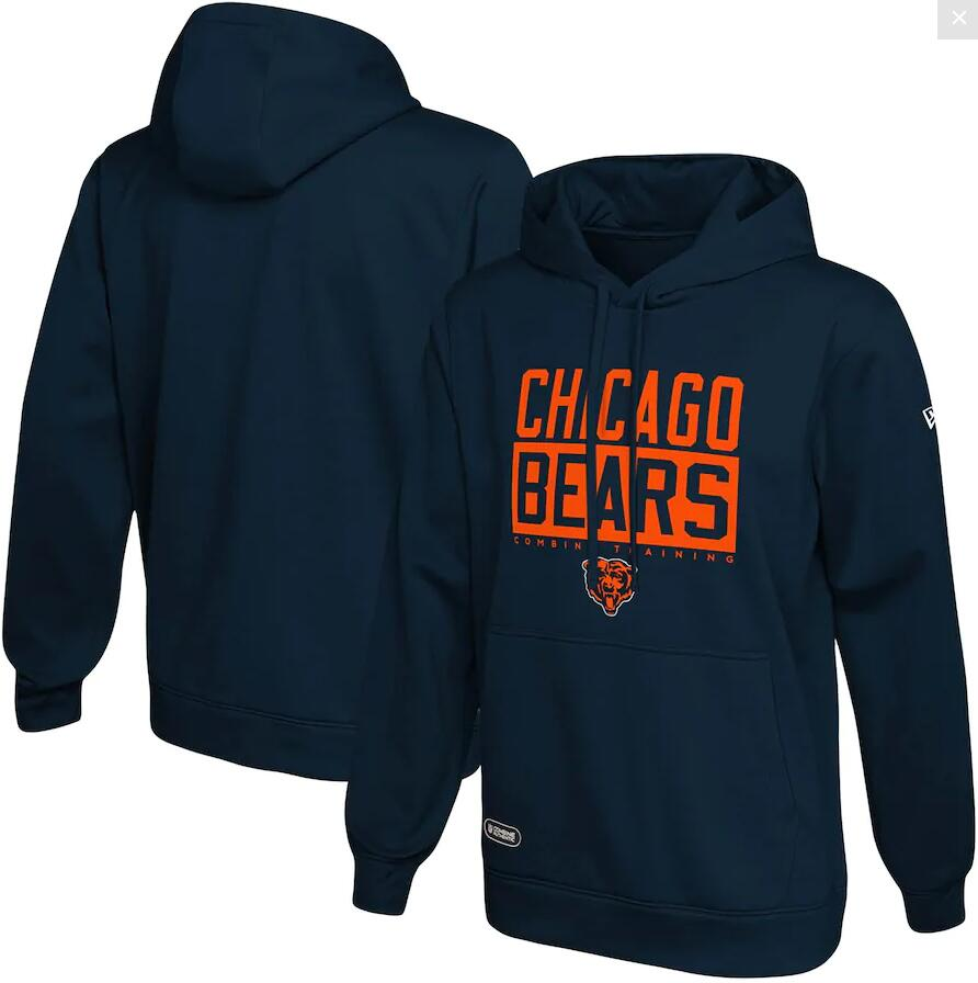 Men's Chicago Bears New Era Navy School of Hard Knocks Pullover Hoodie