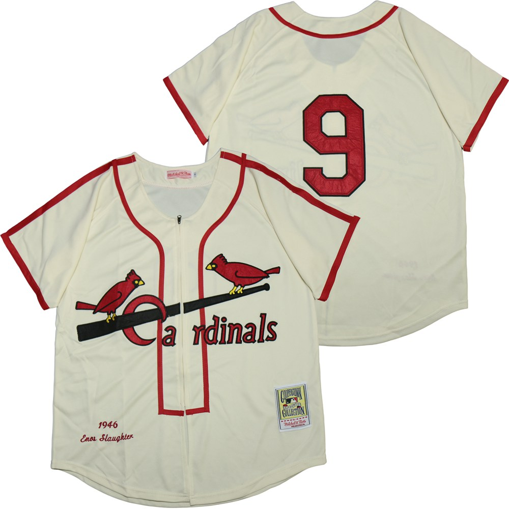 Cardinals 9 Enos Slaughter Cream 1946 Cooperstown Collection Jersey