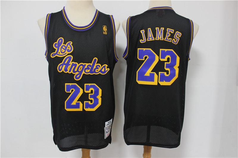 Lakers 23 Lebron James Black Mesh Hardwood Classics Jersey