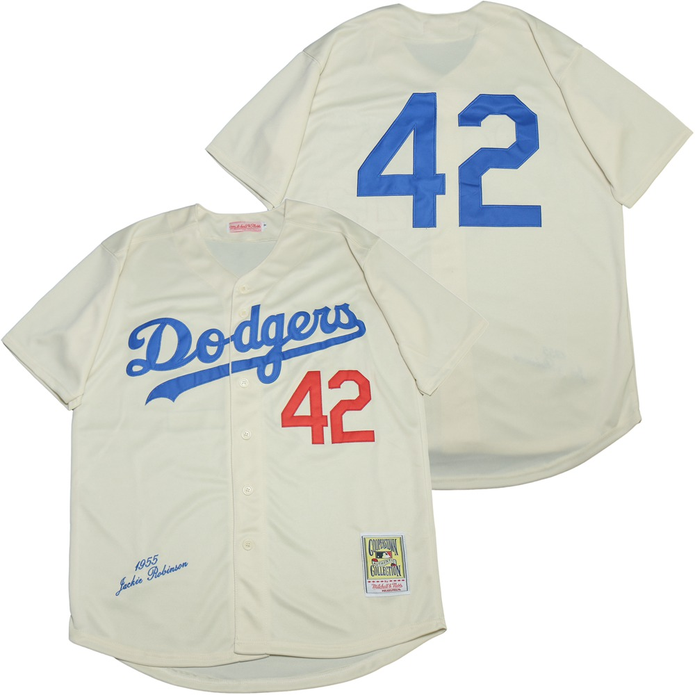 Dodgers 42 Jackie Robinson Cream 1955 Cooperstown Collection Jersey