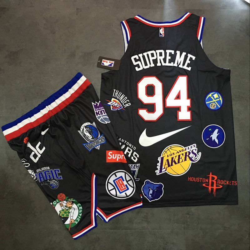 Supreme x Nike x NBA Logos Black Stitched Basketball Jersey(With Shorts)