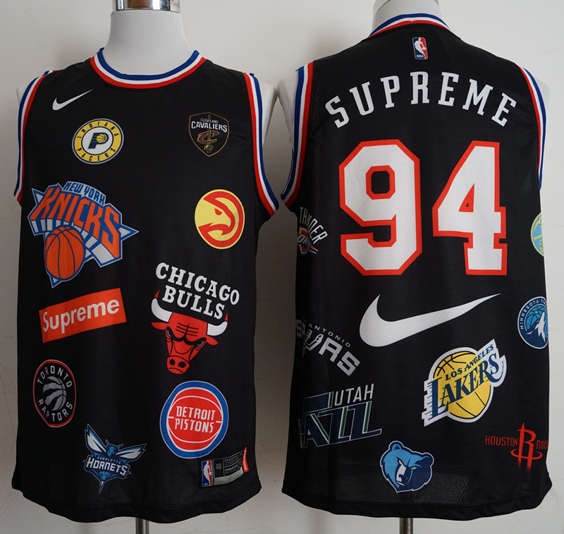 Supreme x Nike x NBA Logos Black Stitched Basketball Jersey