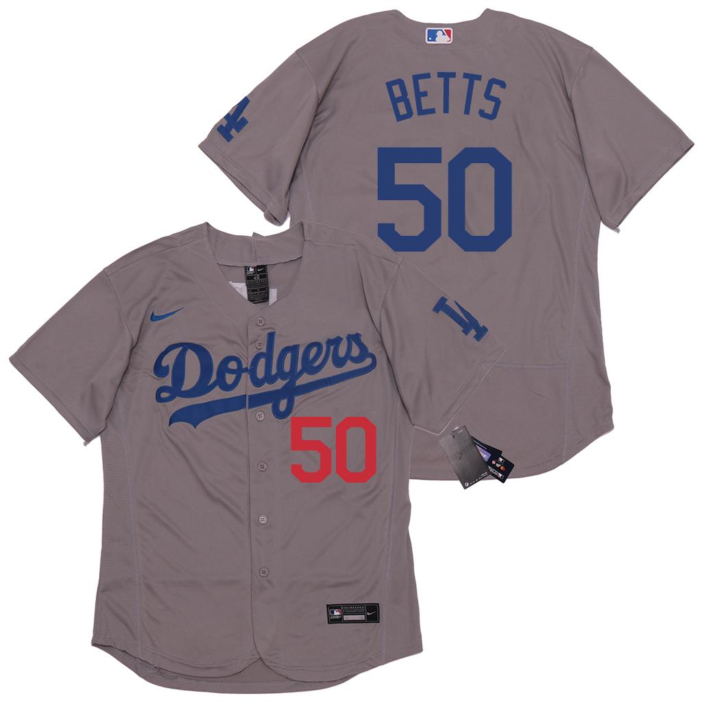 Dodgers 50 Mookie Betts Gray 2020 Nike Flexbase Jersey
