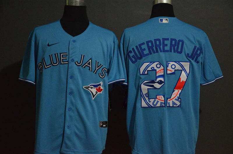 Blue Jays 27 Vladimir Guerrero Jr. Light Blue 2020 Nike Cool Base Fashion Jersey