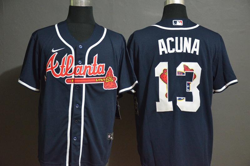 Braves 13 Ronald Acuna Jr. Nave 2020 Nike Cool Base Fashion Jersey