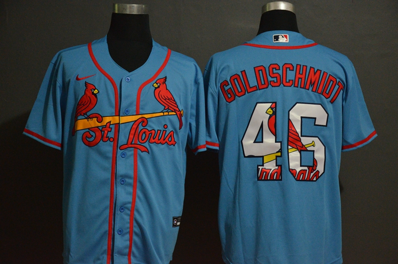 Cardinals 46 Paul Goldschmidt Light Blue 2020 Nike Cool Base Fashion Jersey