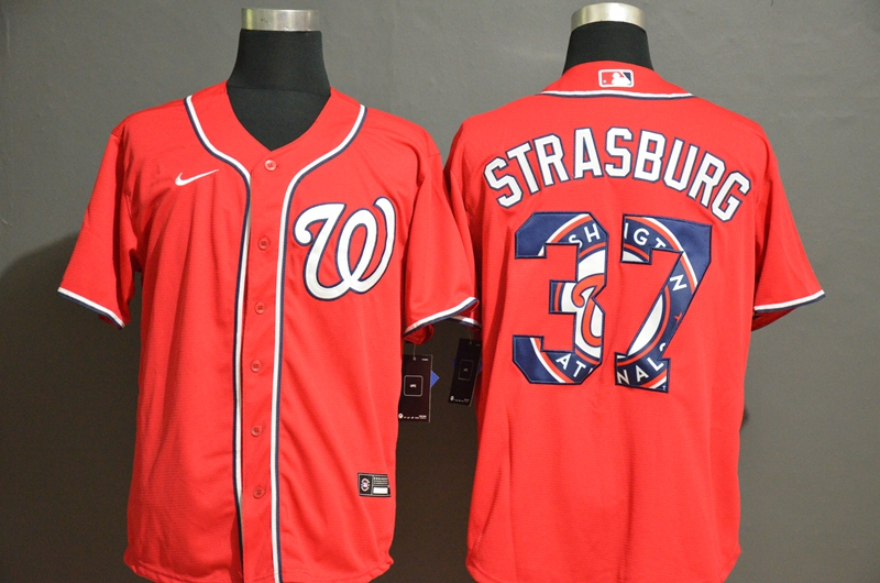 Nationals 37 Stephen Strasburg Red 2020 Nike Cool Base Fashion Jersey