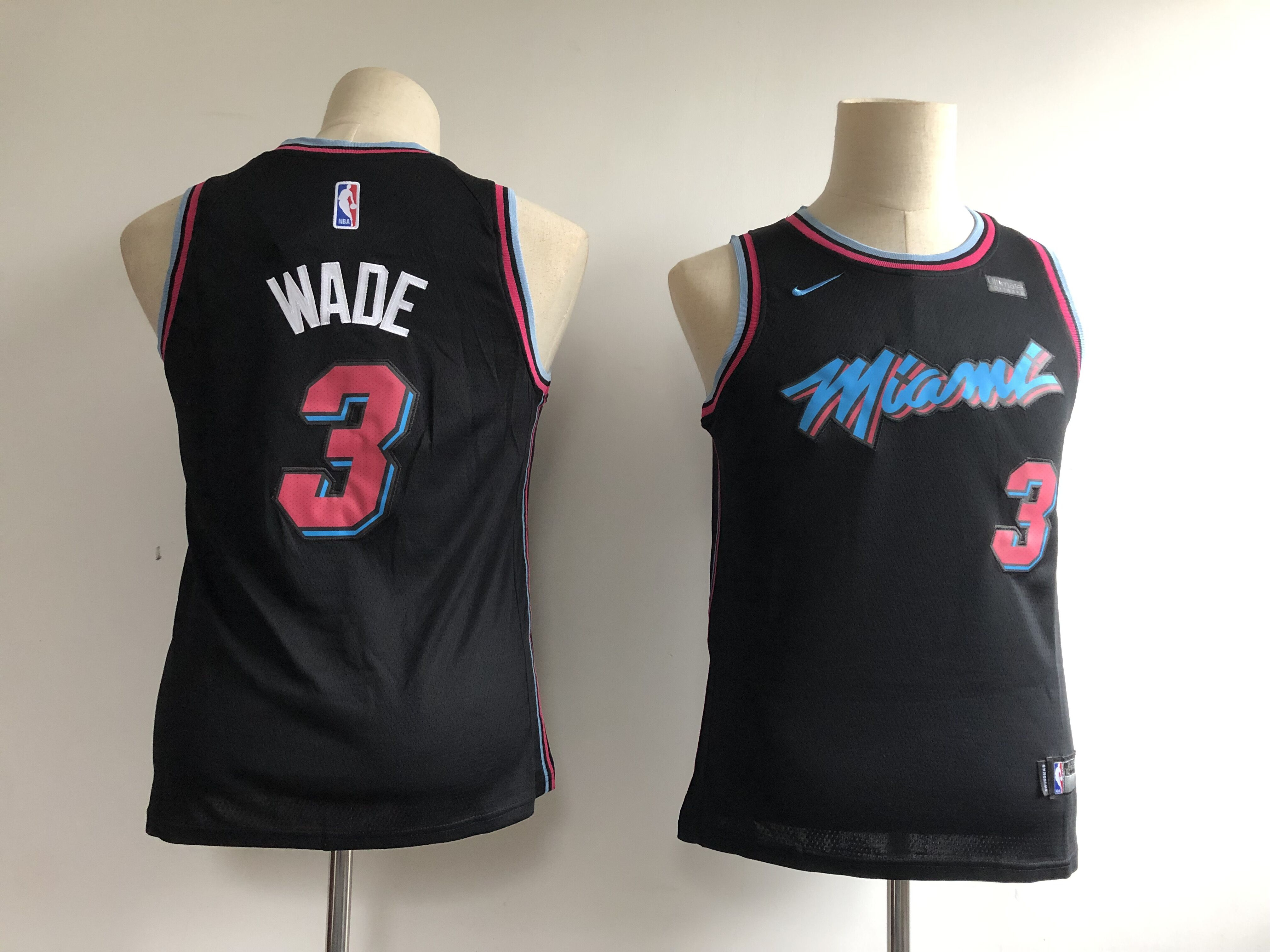 Heat 3 Dwyane Wade Black Youth City Edition Nike Swingman Jersey