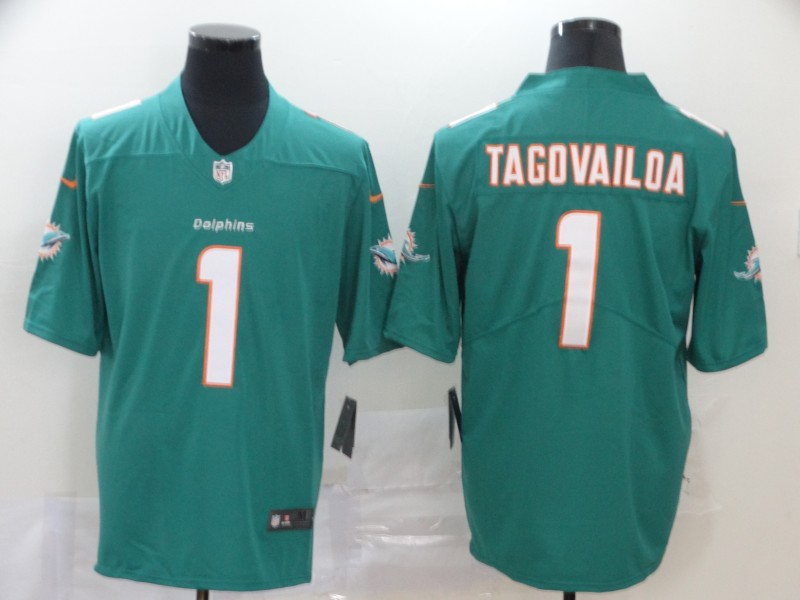 Nike Dolphins 1 Tua Tagovailoa Aqua 2020 NFL Draft First Round Pick Vapor Untouchable Limited Jersey