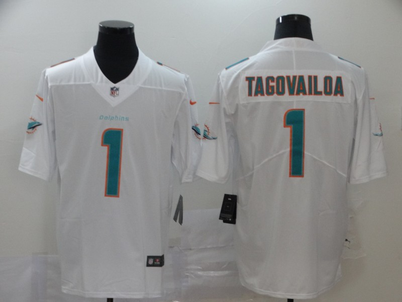 Nike Dolphins 1 Tua Tagovailoa White 2020 NFL Draft First Round Pick Vapor Untouchable Limited Jersey
