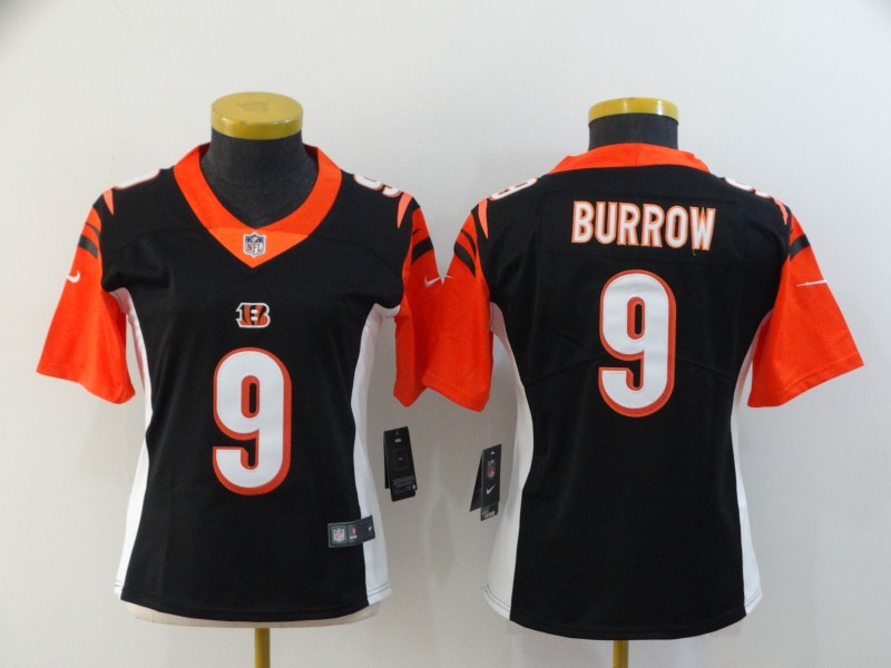 Nike Bengals 9 Joe Burrow Black Women 2020 NFL Draft First Round Pick Vapor Untouchable Limited Jersey