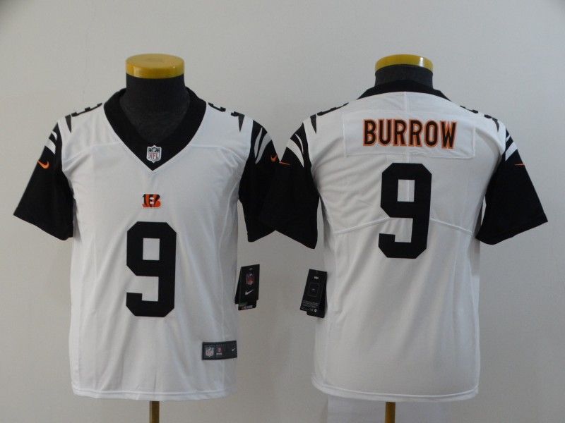 Nike Bengals 9 Joe Burrow Black Youth 2020 NFL Draft First Round Pick Color Rush Limited Jersey