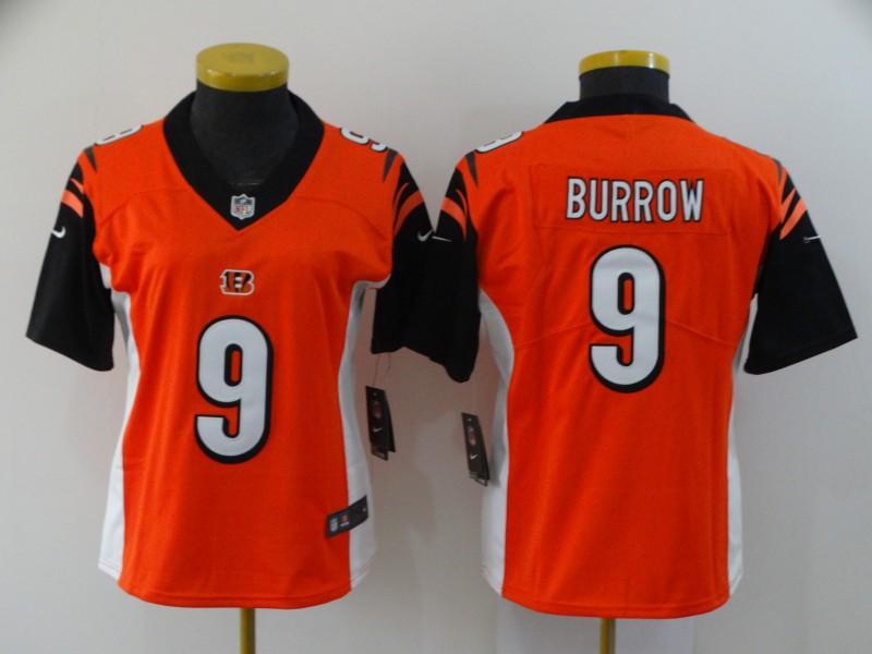 Nike Bengals 9 Joe Burrow Orange Women 2020 NFL Draft First Round Pick Vapor Untouchable Limited Jersey