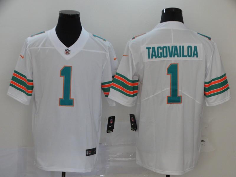 Nike Dolphins 1 Tua Tagovailoa White Throwback Vapor Untouchable Limited Jersey