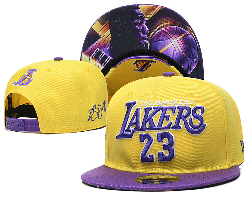 Lakers Team 23 Logo Yellow Adjustable Hat YD