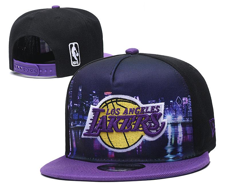 Lakers Team Logo Black Purple Adjustable Hat YD