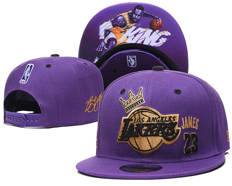 Lakers Team Logo Purple 23 James Adjustable Hat YD