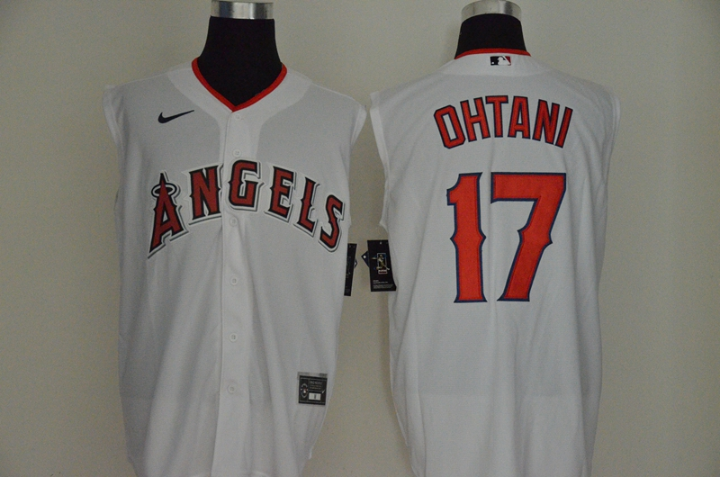Angels 17 Shohei Ohtani White Nike Cool Base Sleeveless Jersey