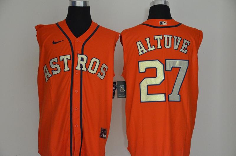 Astros 27 Jose Altuve Orange Nike Cool Base Sleeveless Jersey