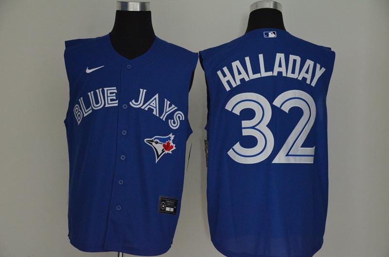 Blue Jays 32 Roy Halladay Royal Nike Cool Base Sleeveless Jersey