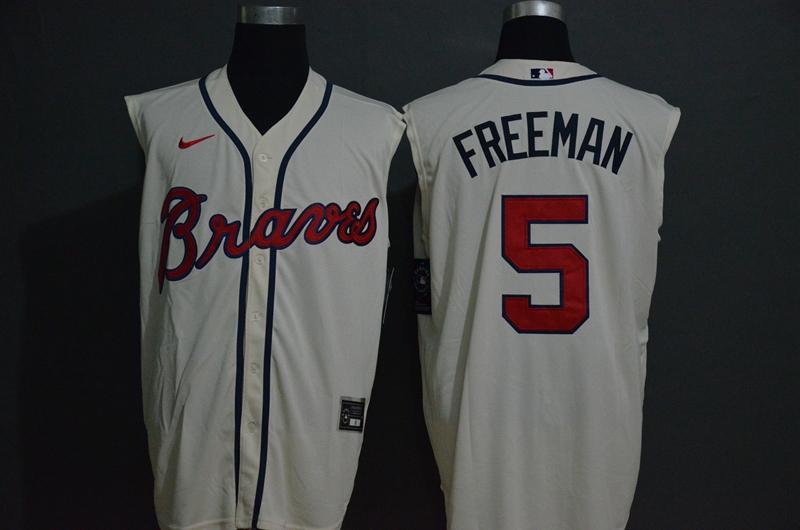 Braves 5 Freddie Freeman White Nike Cool Base Sleeveless Jersey