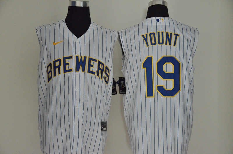 Brewers 19 Robin Yount White Gold Nike Cool Base Sleeveless Jersey