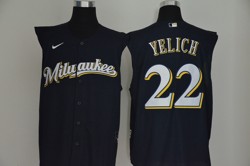 Brewers 22 Christian Yelich Navy Nike Cool Base Sleeveless Jersey
