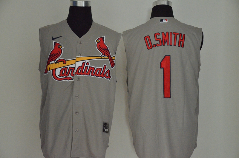 Cardinals 1 O.Smith Gray Nike Cool Base Sleeveless Jersey