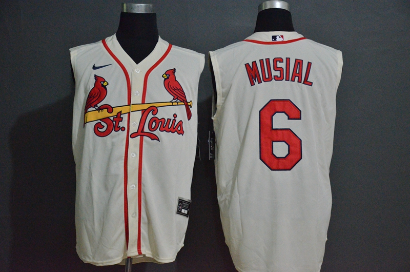 Cardinals 6 Stan Musial Cream Nike Cool Base Sleeveless Jersey