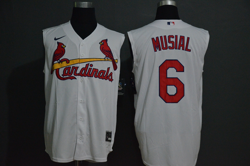 Cardinals 6 Stan Musial White Nike Cool Base Sleeveless Jersey