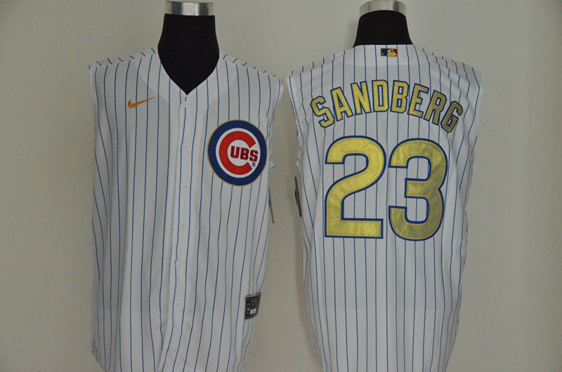 Cubs 23 Ryne Sandberg White Gold Nike Cool Base Sleeveless Jersey