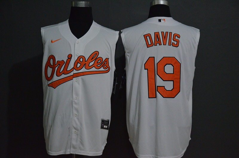 Orioles 19 Chris Davis White Nike Cool Base Sleeveless Jersey