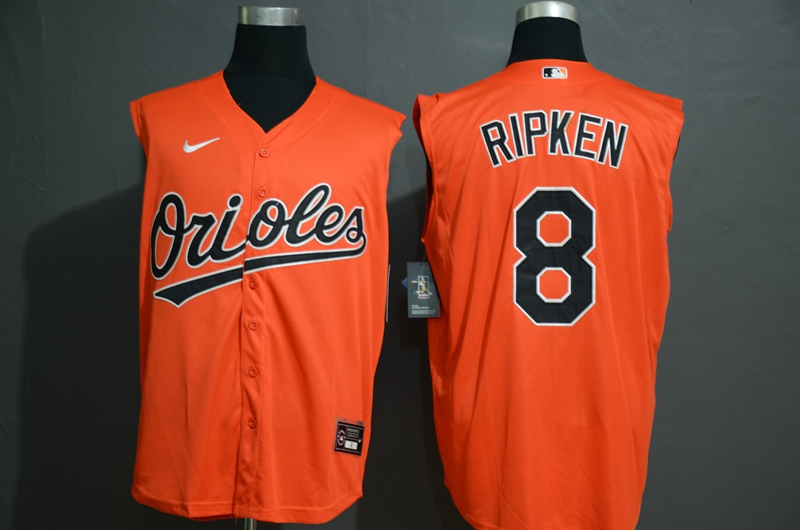 Orioles 8 Cal Ripken Jr Orange Nike Cool Base Sleeveless Jersey