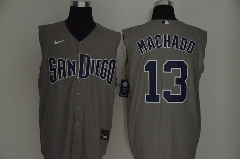 Padres 13 Manny Machado Gray Nike Cool Base Sleeveless Jersey