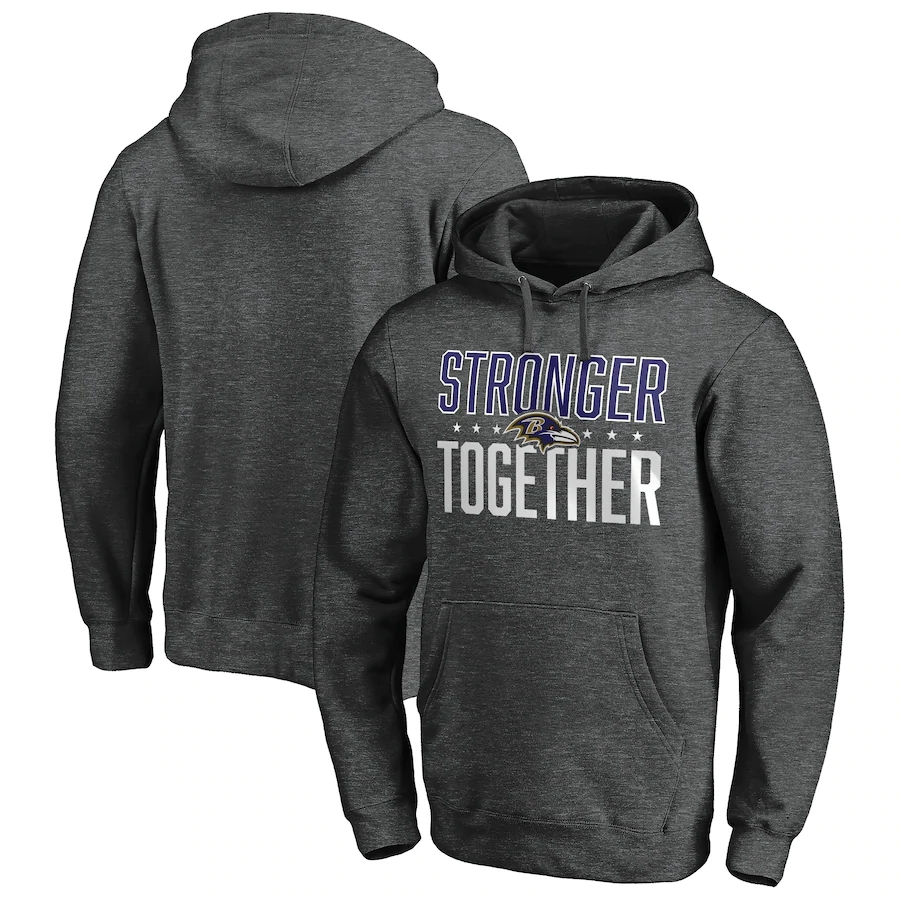 Baltimore Ravens Heather Charcoal Stronger Together Pullover Hoodie