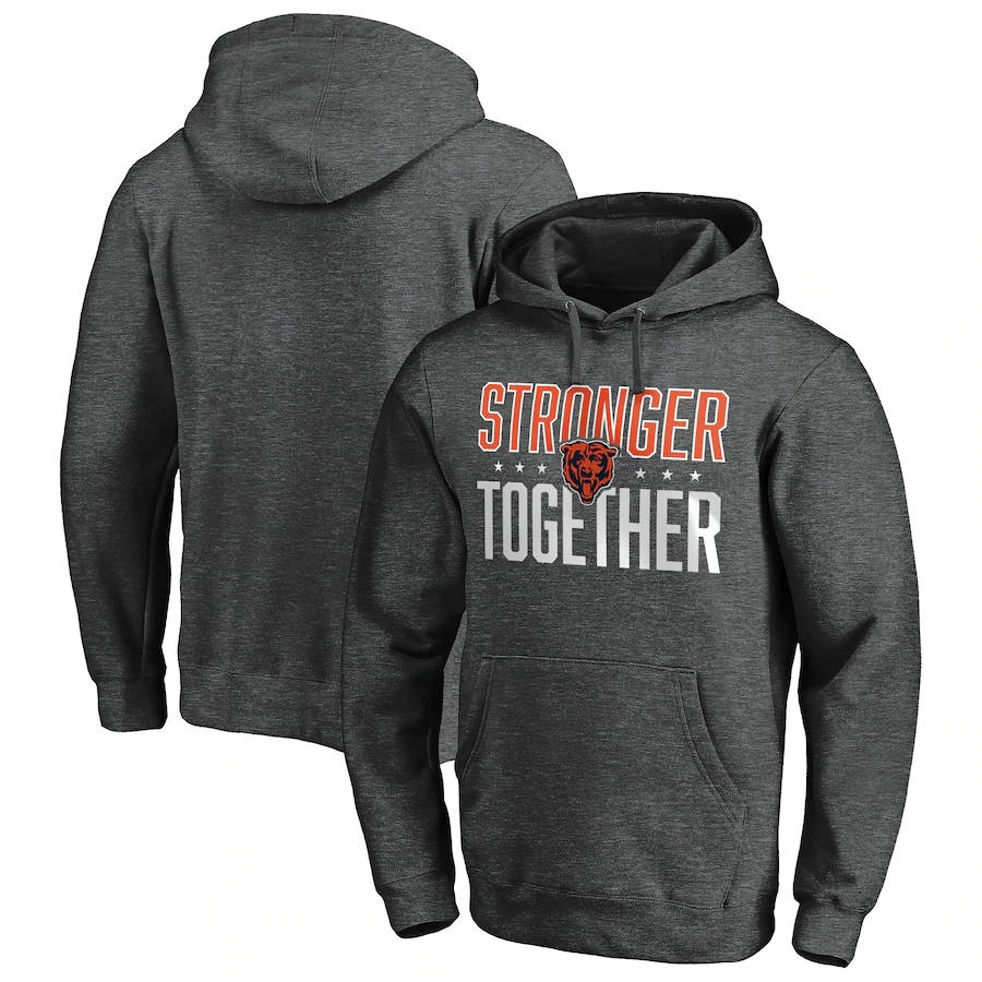 Chicago Bears Heather Charcoal Stronger Together Pullover Hoodie