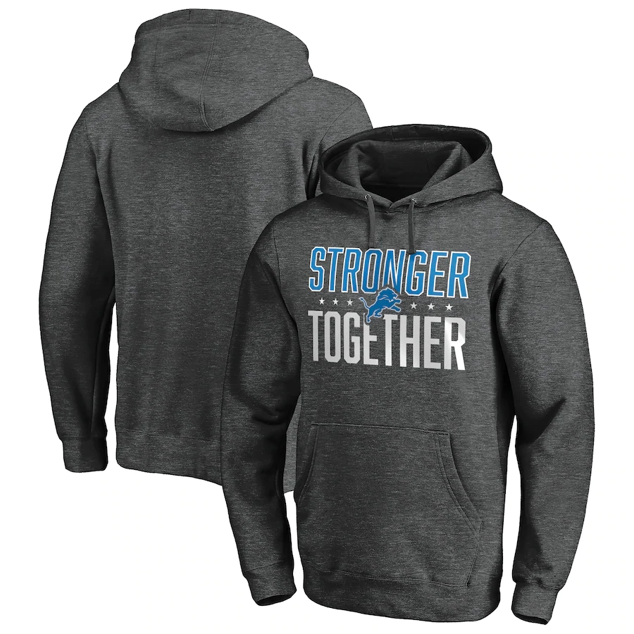 Detroit Lions Heather Charcoal Stronger Together Pullover Hoodie