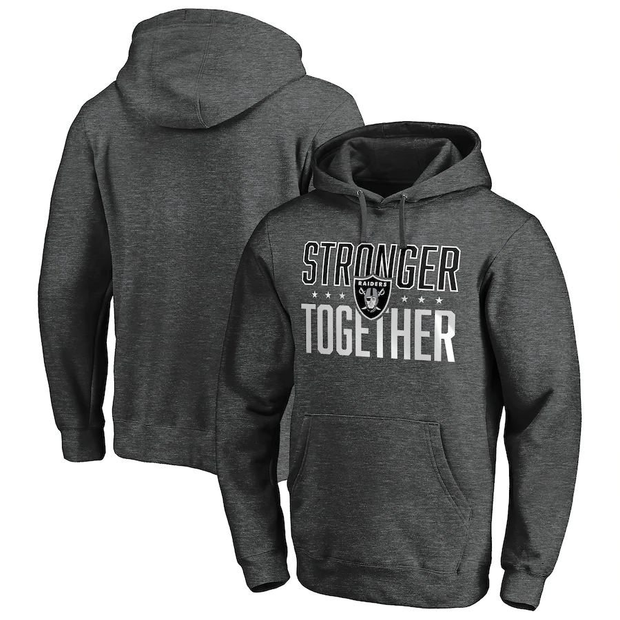 Las Vegas Raiders Heather Charcoal Stronger Together Pullover Hoodie
