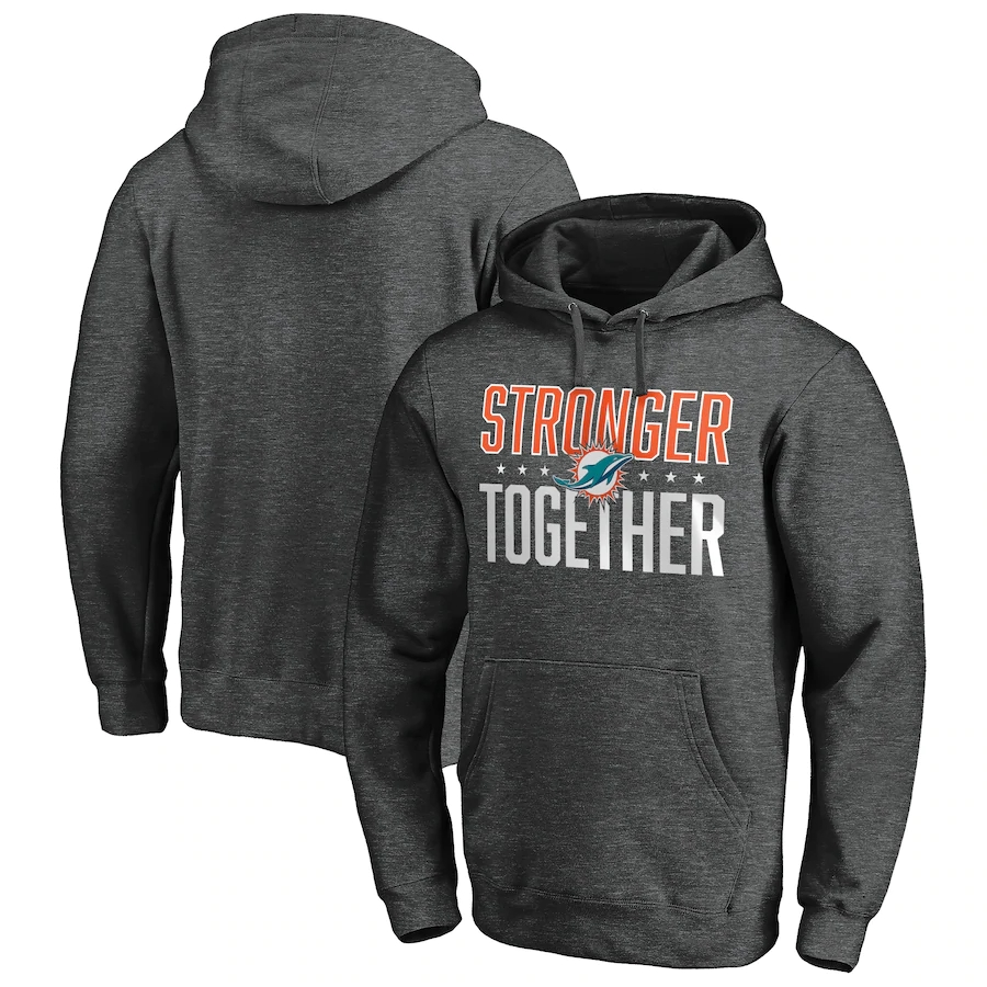 Miami Dolphins Heather Charcoal Stronger Together Pullover Hoodie