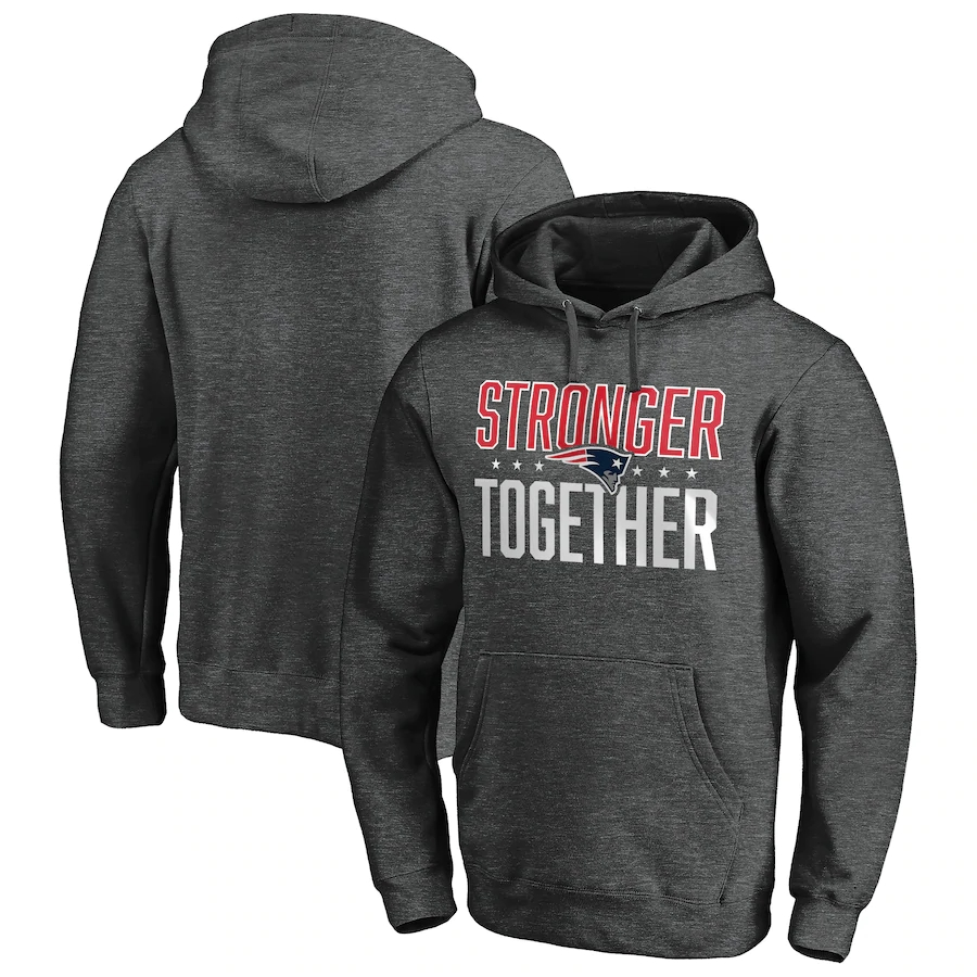 New England Patriots Heather Charcoal Stronger Together Pullover Hoodie