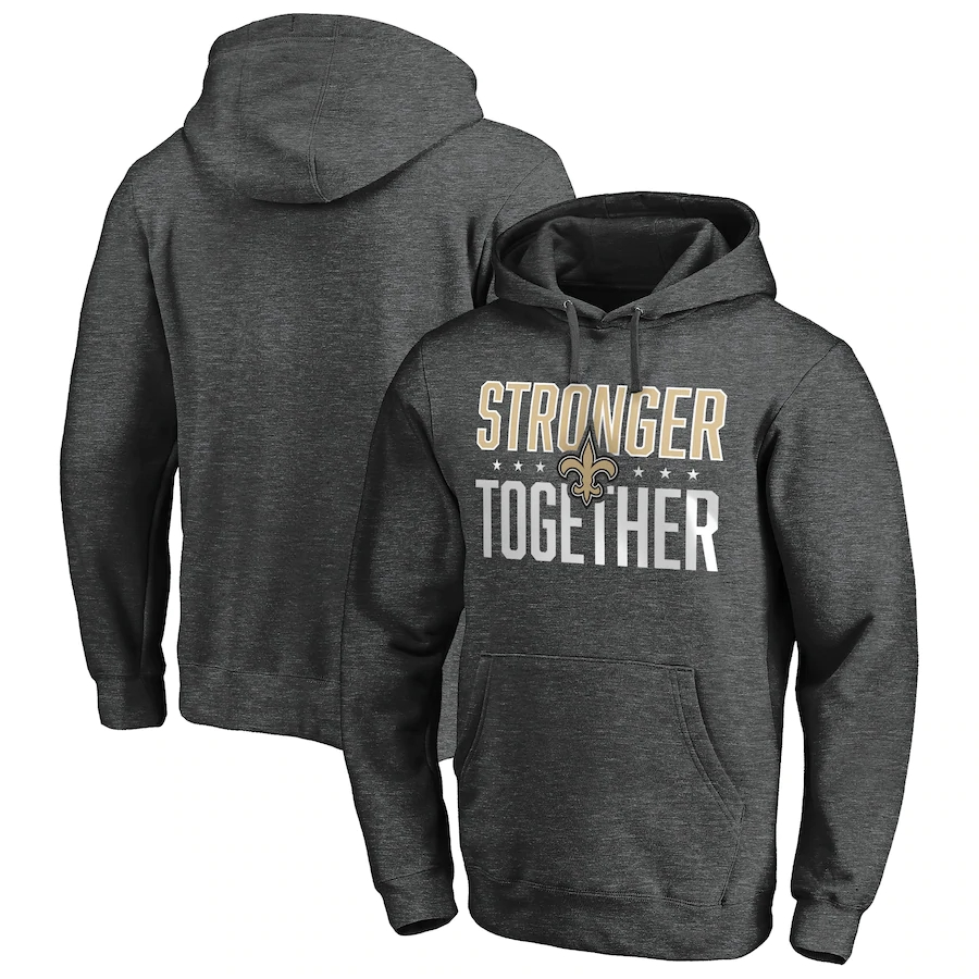 New Orleans Saints Heather Charcoal Stronger Together Pullover Hoodie