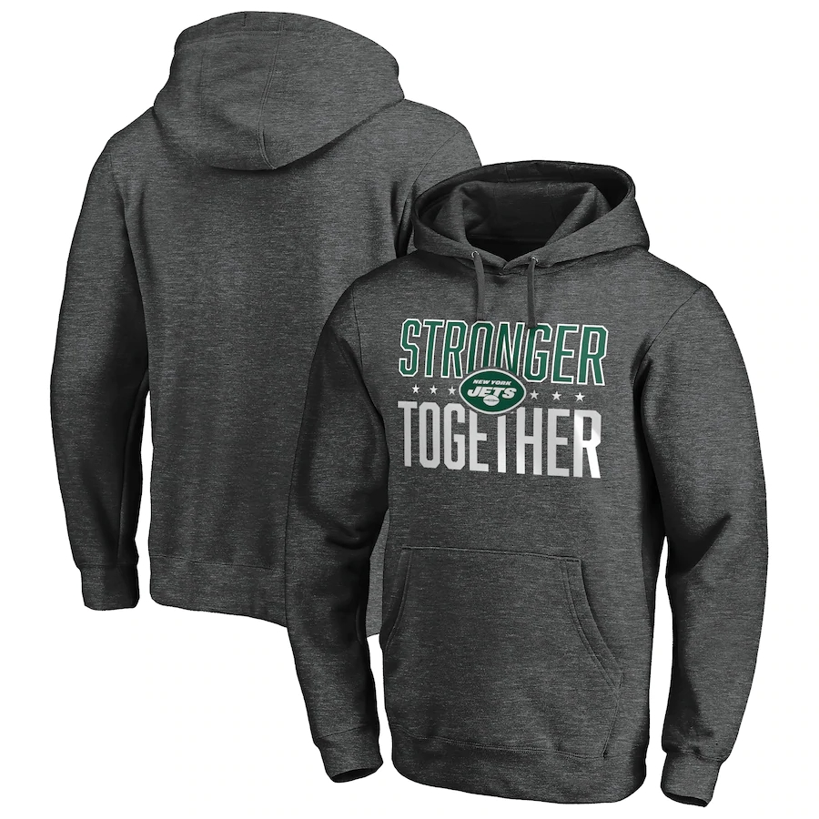New York Jets Heather Charcoal Stronger Together Pullover Hoodie