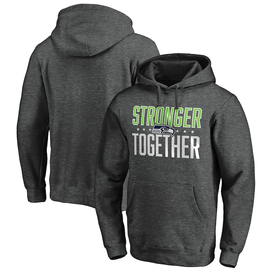 Seattle Seahawks Heather Charcoal Stronger Together Pullover Hoodie
